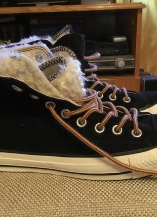 Кеды зимние с мехом converse кожаные замшевые