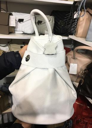 Рюкзак кожаный женский трансформер белый