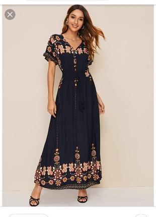 Длинное платье в цветочный принт из вискозы shein