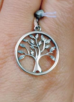 Кулон дерево с белыми фианитами. серебро 925