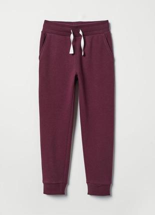 Хлопковые тёплые джоггеры на флисе, штаны, 122- 128, h&m, бирка