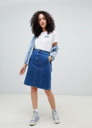 Юбка из денима джинсовая а-силуэт
