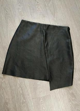 Ассиметричная юбка из кожзам