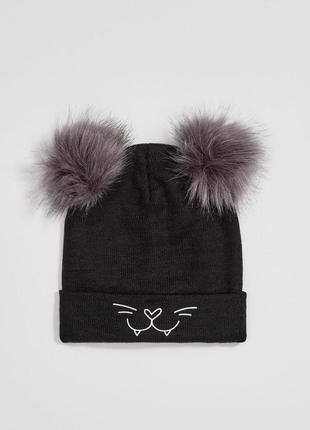 Новая забавная шапка с помпонами и кошачьим принтом,  размер one size