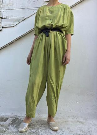Шелковый летний комбез комбинезон из натурального шёлка стиль asos zara h&m mango