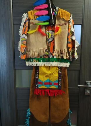Карнавальный костюм индеец 4-6 л,104-116 рост, разбойник