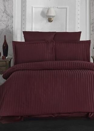 Комплекты постельного белья st-1014 страйп-сатин сатин бордовый