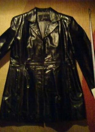Кожаный пиджак френч пальто женское