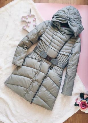 Серый теплый пуховик(пальто) с капюшоном синепон
