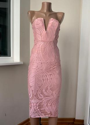 Розовое платье бюстье ажурное