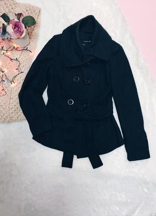 Темно-серое шерстяное пальто(полупальто) зара