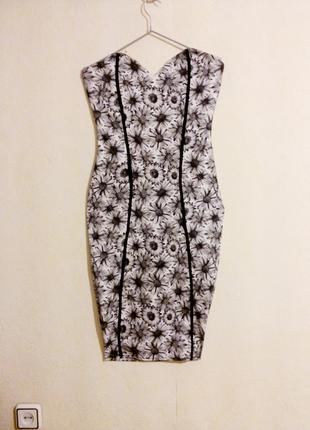 """Стречевое миди платье карандаш с принтом """"ромашки"""" missguided р 10 uk"""