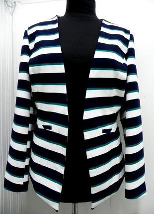 Стильный брендовый пиджак в полоску 52-54-56
