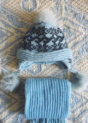 Небесно-голубой скандинавский комплект с шерстью ангоры шерстяная голубая шапка и шарф