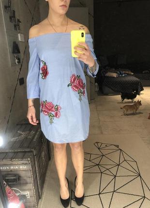 Хлопковое платье с вышивкой zara