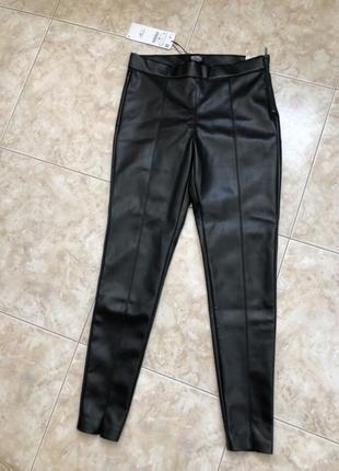 Шикарные кожаные штаны брюки zara оригинал кожа замочек