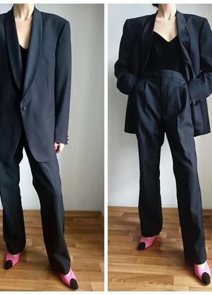 Костюм брючный шерсть оверсайз пиджак блейзер смокинг жакет высокая посадка талия