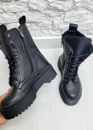 Демисезонные женские ботинки из натуральной кожи на байке