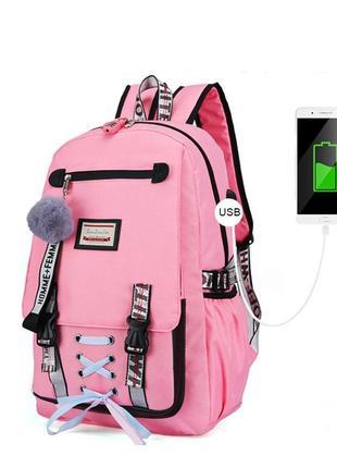 Школьный рюкзак для девочки harvard с usb, замочком и меховым помпоном, 4 цвета