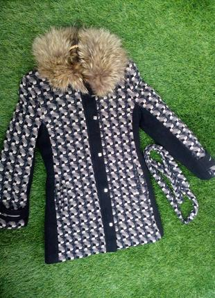 Пальто retto зимнее драповое c натуральным енотом