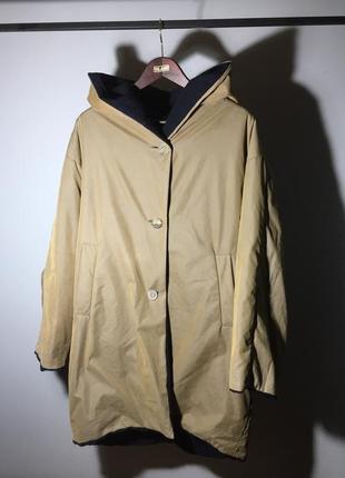 Брендовое strenesse супер пальто !❗️❗️❗️ шерсть кашемир двустороннее , хаки / темно синее