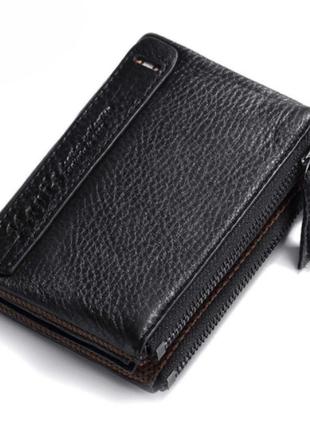 Кожаный мужской черный кошелек натуральная кожа