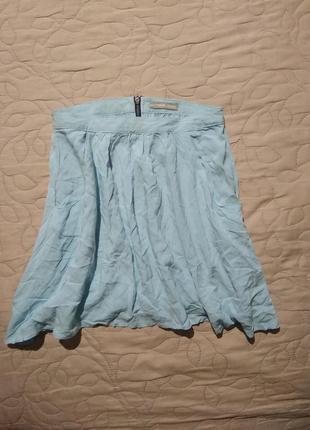 Юбка лёгкая летняя с подюпником абалденный цвет нежно голубой-xxs xs