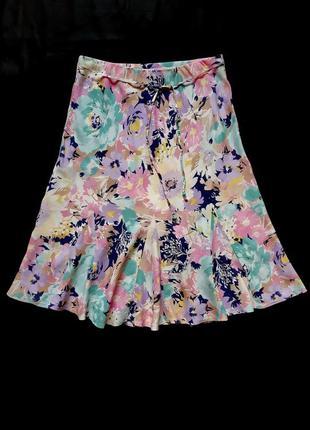 Летняя вискозная миди юбка m&s, xl