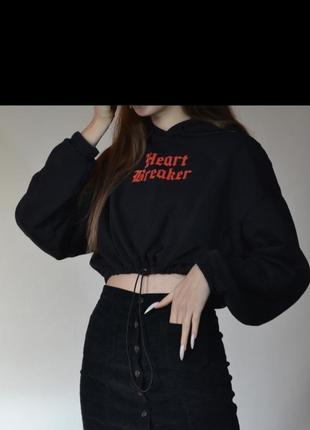 Кроп худи короткое готическое черное оверсайз heart breaker