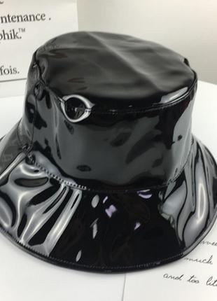 Лаковая панама панамка шляпа шапка черная качественная новая