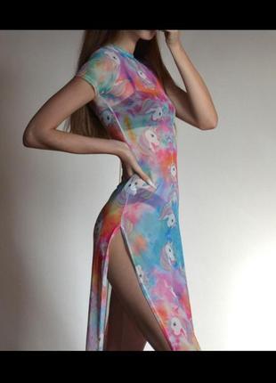 Платье длинное пляжное прозрачное сетка тайдай единороги милое с вырезом летнее