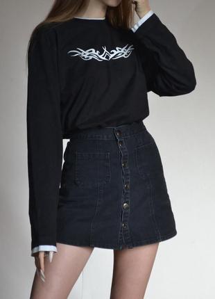 Юбка на кнопках с карманами джинсовая черная на высокой талии мини