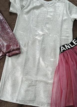 Нарядный и очень красивый костюм 3: платье с серебрянным напылением, бомпер+юбка фатиновая3 фото