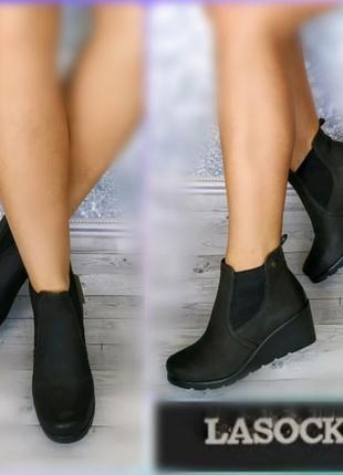 40р кожа,нубук новые lasocki,черны ботинки,челси на танкетке,утеплены