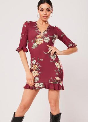 Missguided. это не сток! товар из англии. платье с рюшами и воланами в цветочном принте.