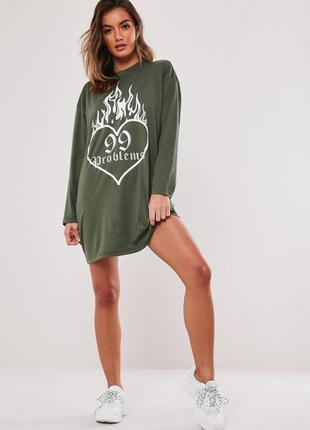 Missguided, платье футболка с графическим принтом. оверсайз