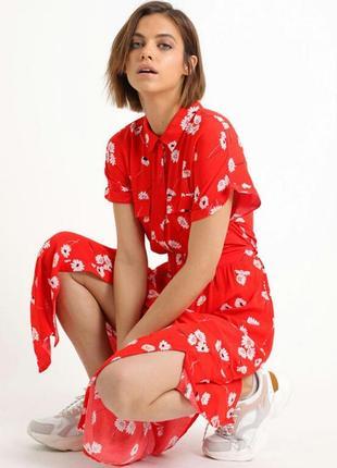 Крутое вискозное платье макси в цветы pimkie 40