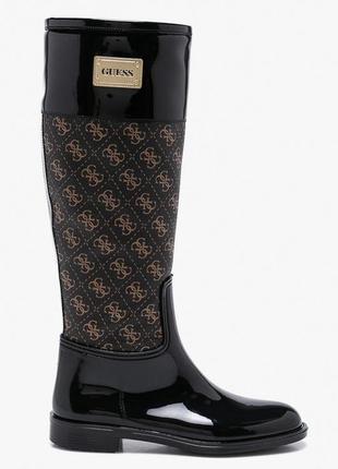 Женские ботфорты высокие сапоги коричневые чёрные резиновые с замком