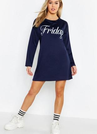 Boohoo. это не сток! товар из англии. платье с надписью. на наш размер 46-48.