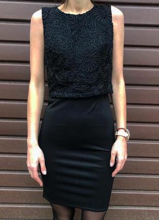 Платье стильный нарядный модный костюм-двойка юбка+топ черного цвета новый