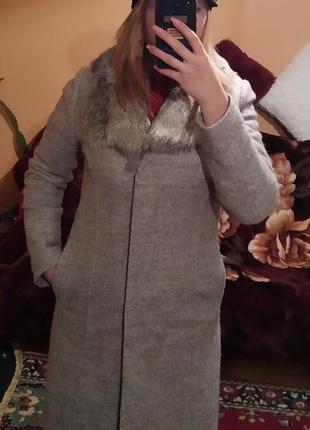 Пальто зимове наповнювач синтепон 100 з натуральним хутром кролика