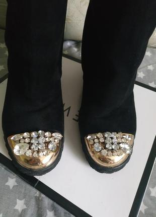 Сапоги ботинки сникерсы с камнями 2 в 1 высокие сапоги