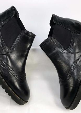 Челси женские ботинки натуральная кожа чёрные с флисовой подкладкой