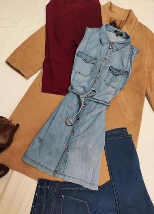 Джинсовое платье с поясом синее голубое на пуговицах casuals select