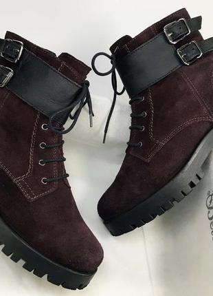 Женские ботинки натуральная замша бордо флисовая подкладка новые по скидке