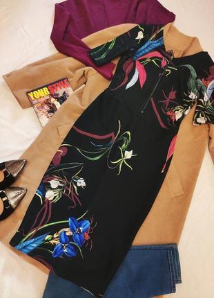 Платье черное в цветочный принт стрейчевое миди классическое next