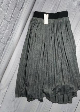 Серая юбка плиисе большой размер миди