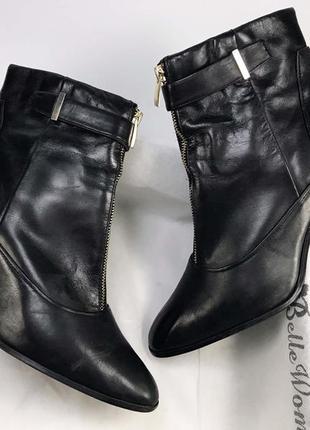 Женские ботильоны на каблуке натуральная кожа чёрные удобные с замком спереди