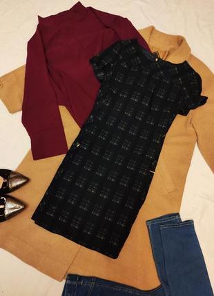 Next платье прямое клетчатое синее бежевое чёрное с карманами