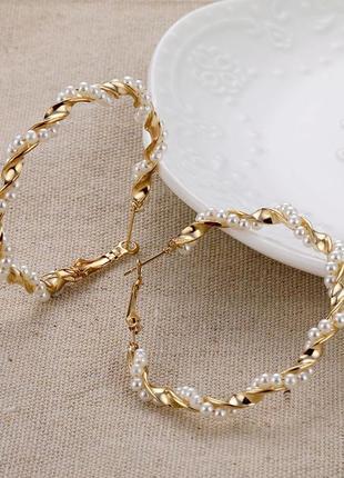 Серьги кольца золотые с бисером / греческий  тренд 202 / сережки круглые битужетрия